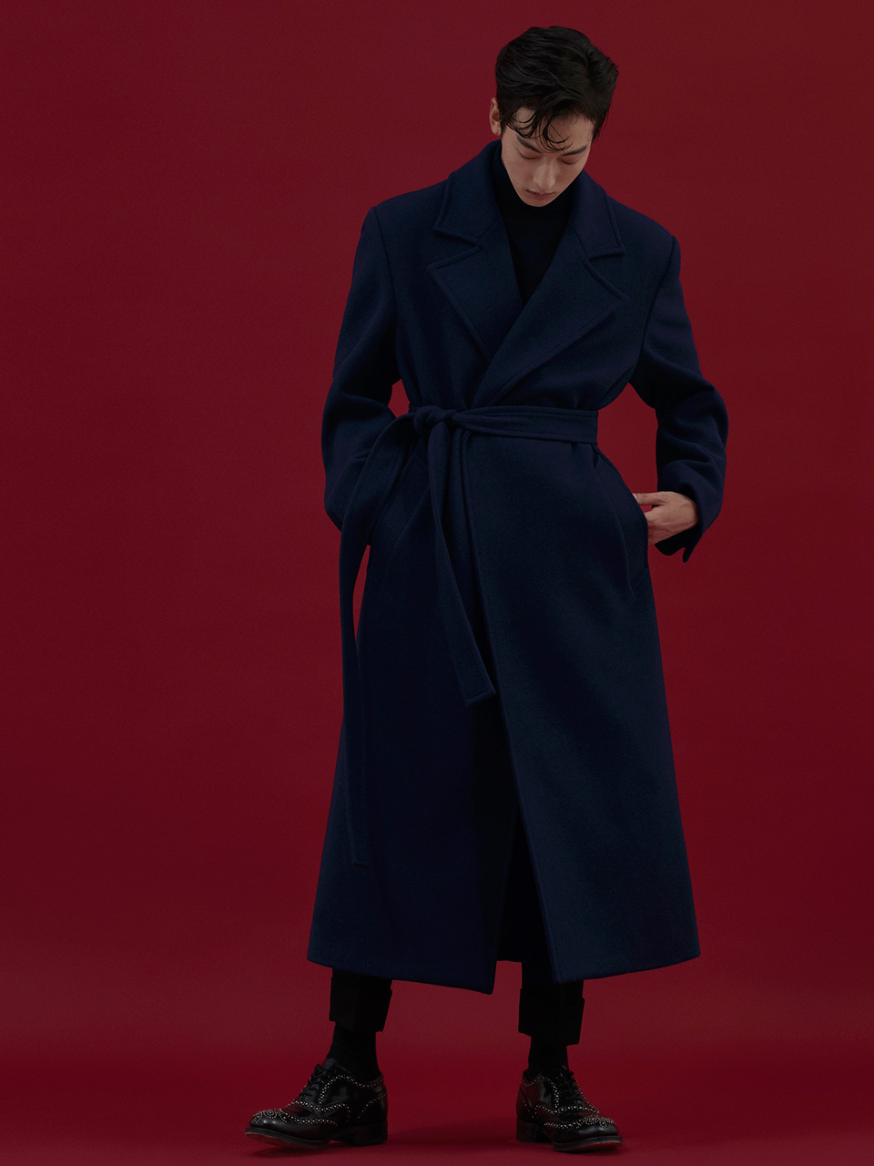 그레이휴[그레이휴X주어진] High waist belted long wool coat, Navy