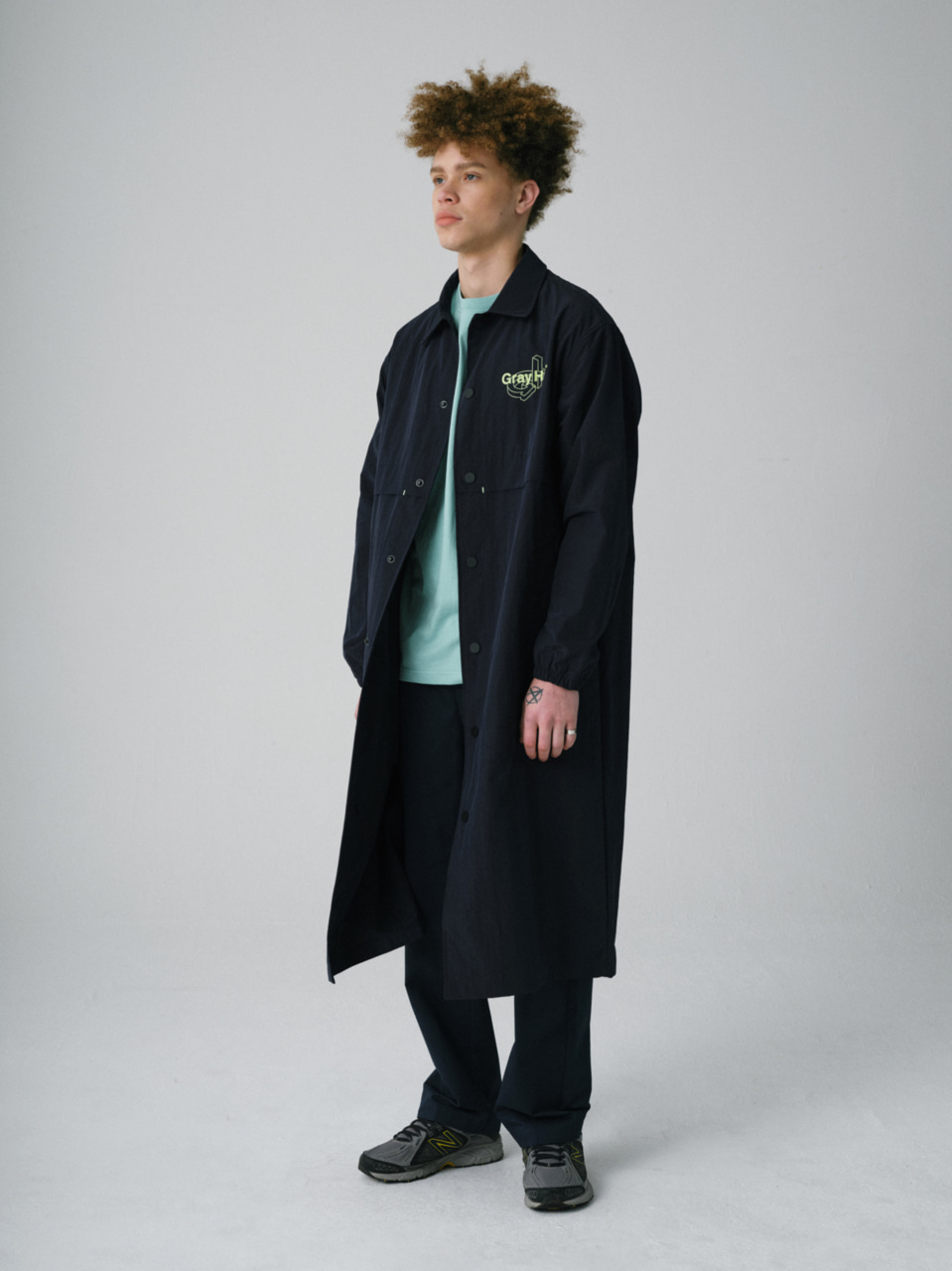 그레이휴SIGNATURE LOGO LONG COAT navy
