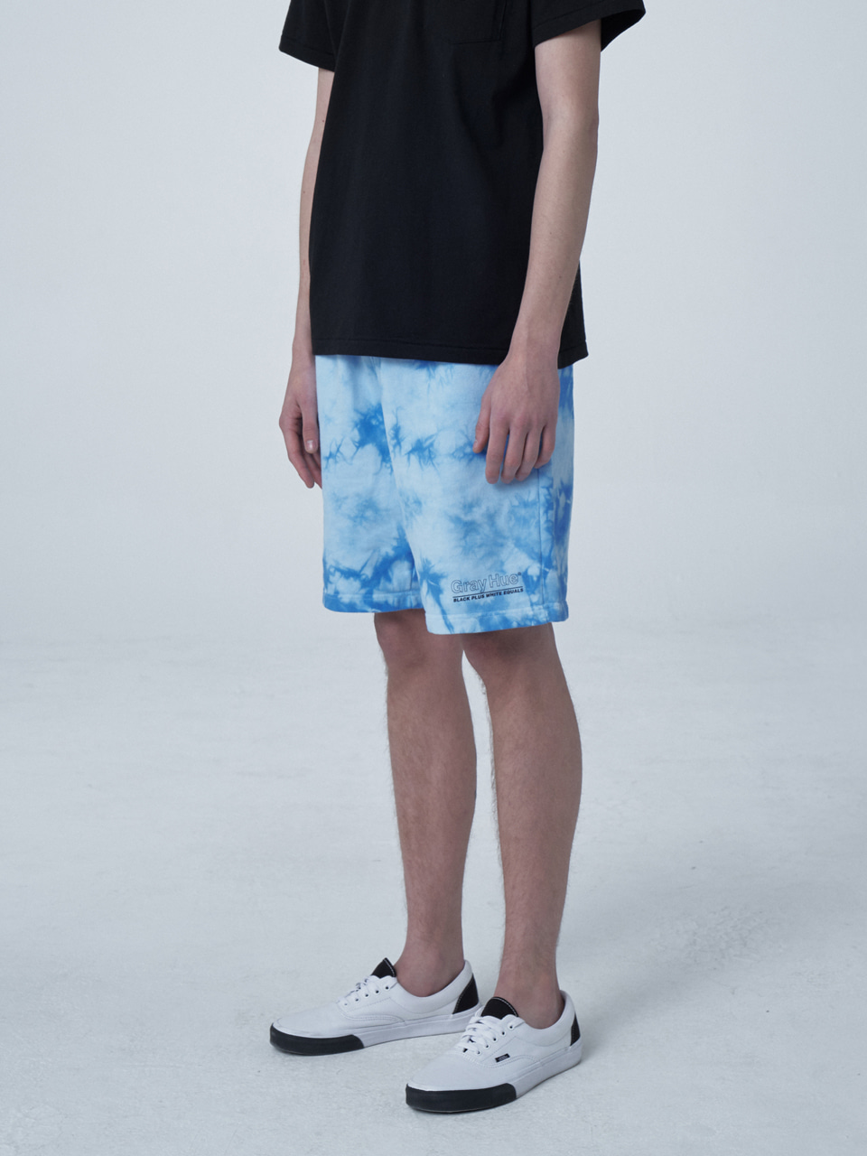 그레이휴MARBLE TIE DYED SHORTS light blue