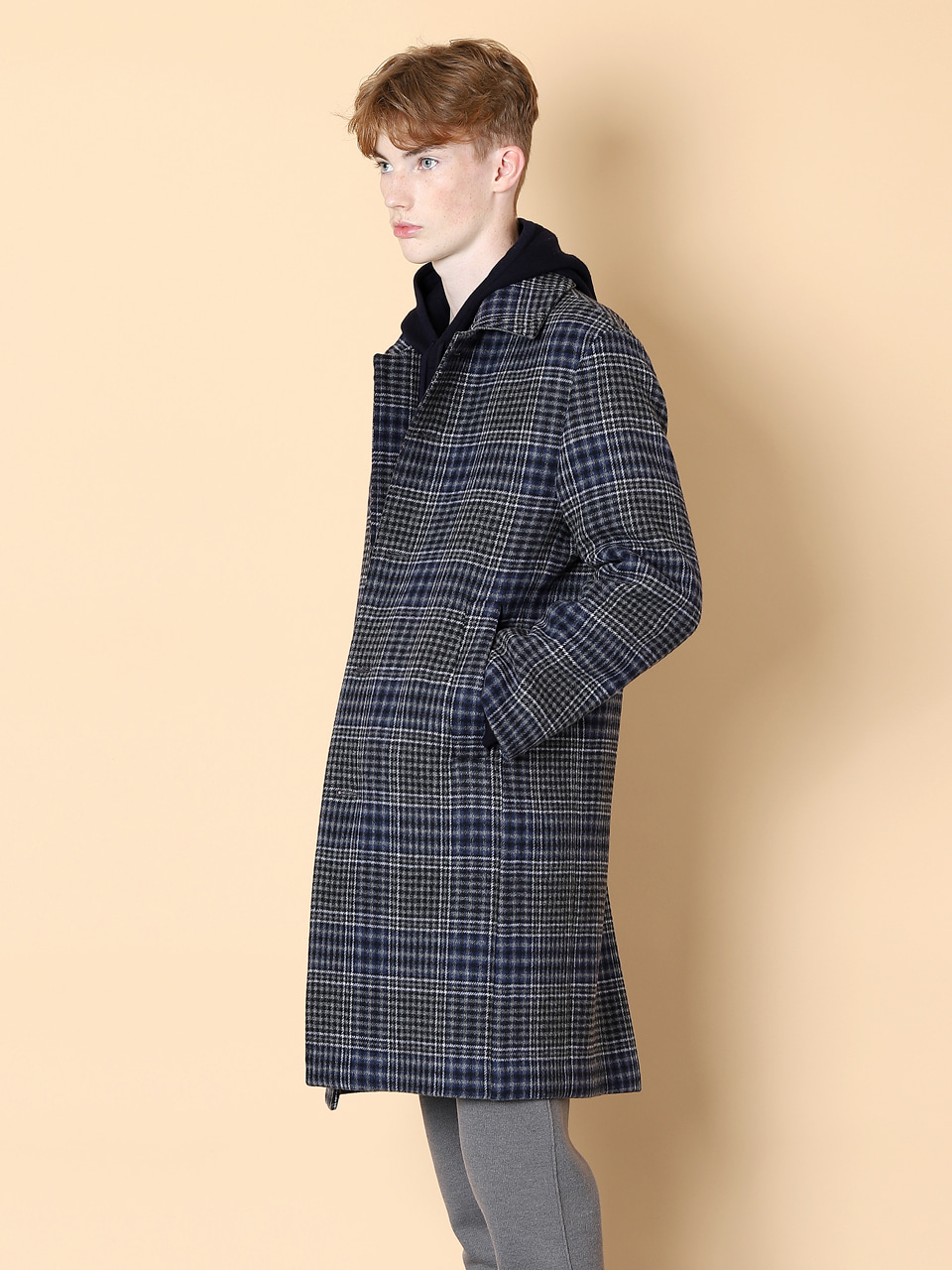 그레이휴Wool Check Mac Coat, Blue