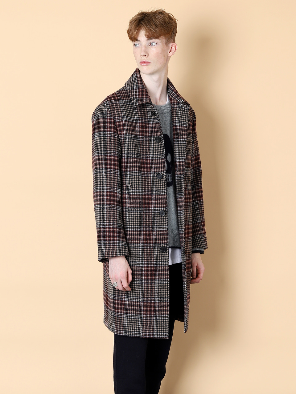 그레이휴Wool Check Mac Coat, Wine
