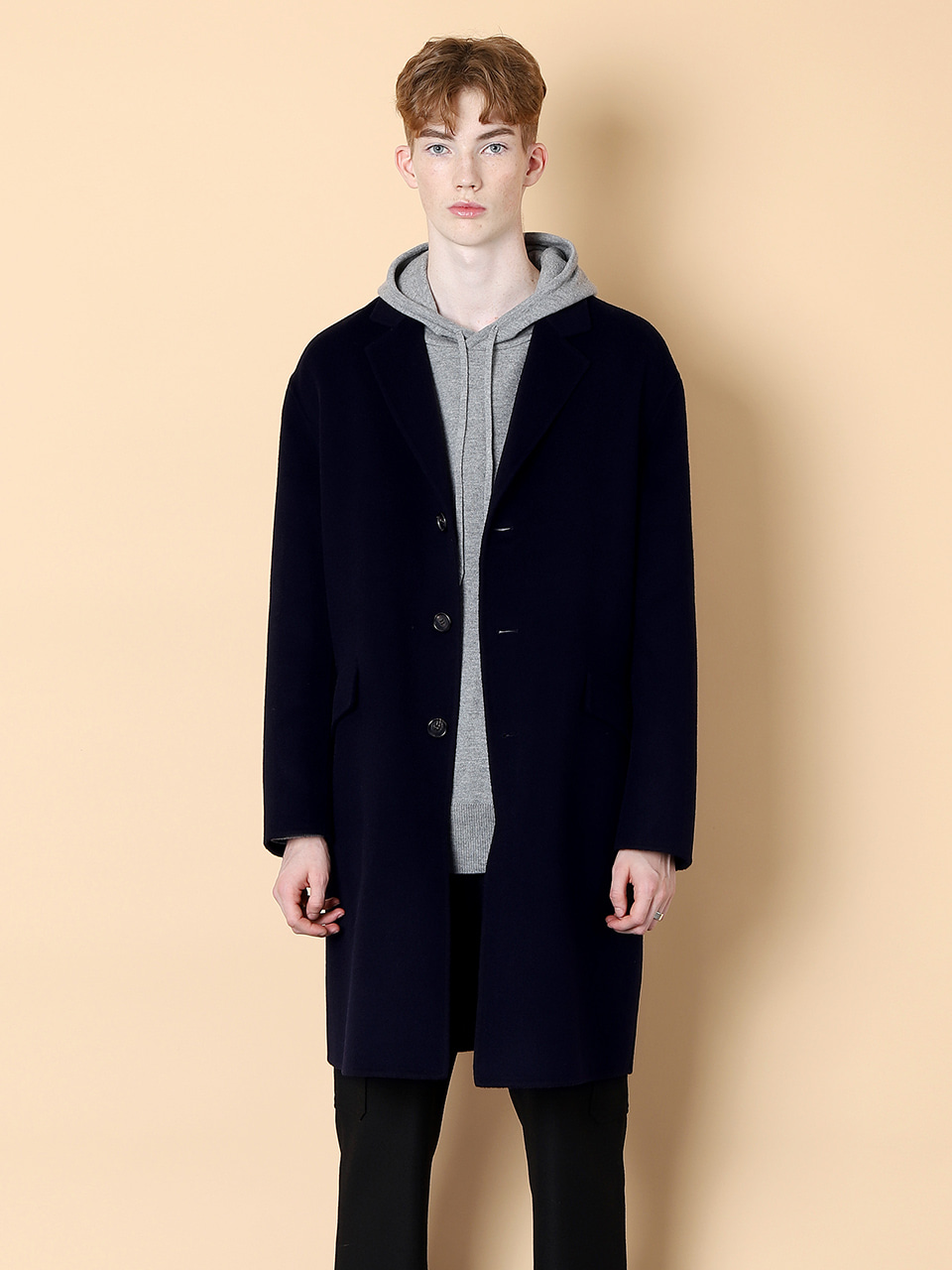 그레이휴Three Botton Handmade Coat, Navy