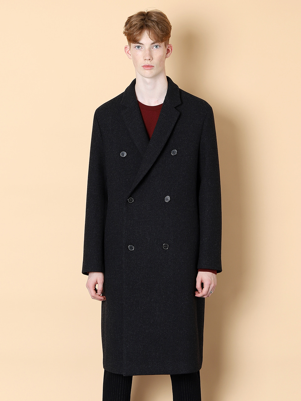 그레이휴Cashmere Long Double Coat, Gray