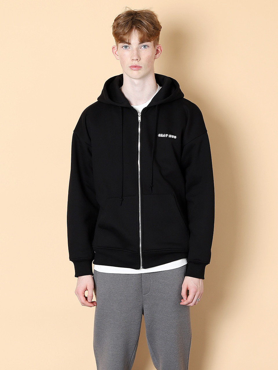 그레이휴Logo Zip Up Hood, Black