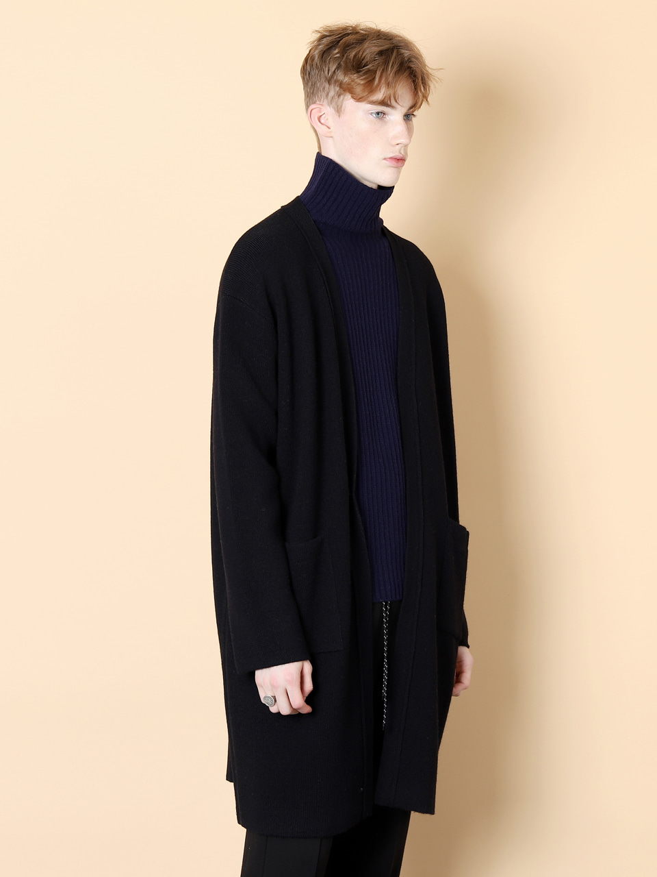그레이휴Alpaka Long Cardigan, Navy