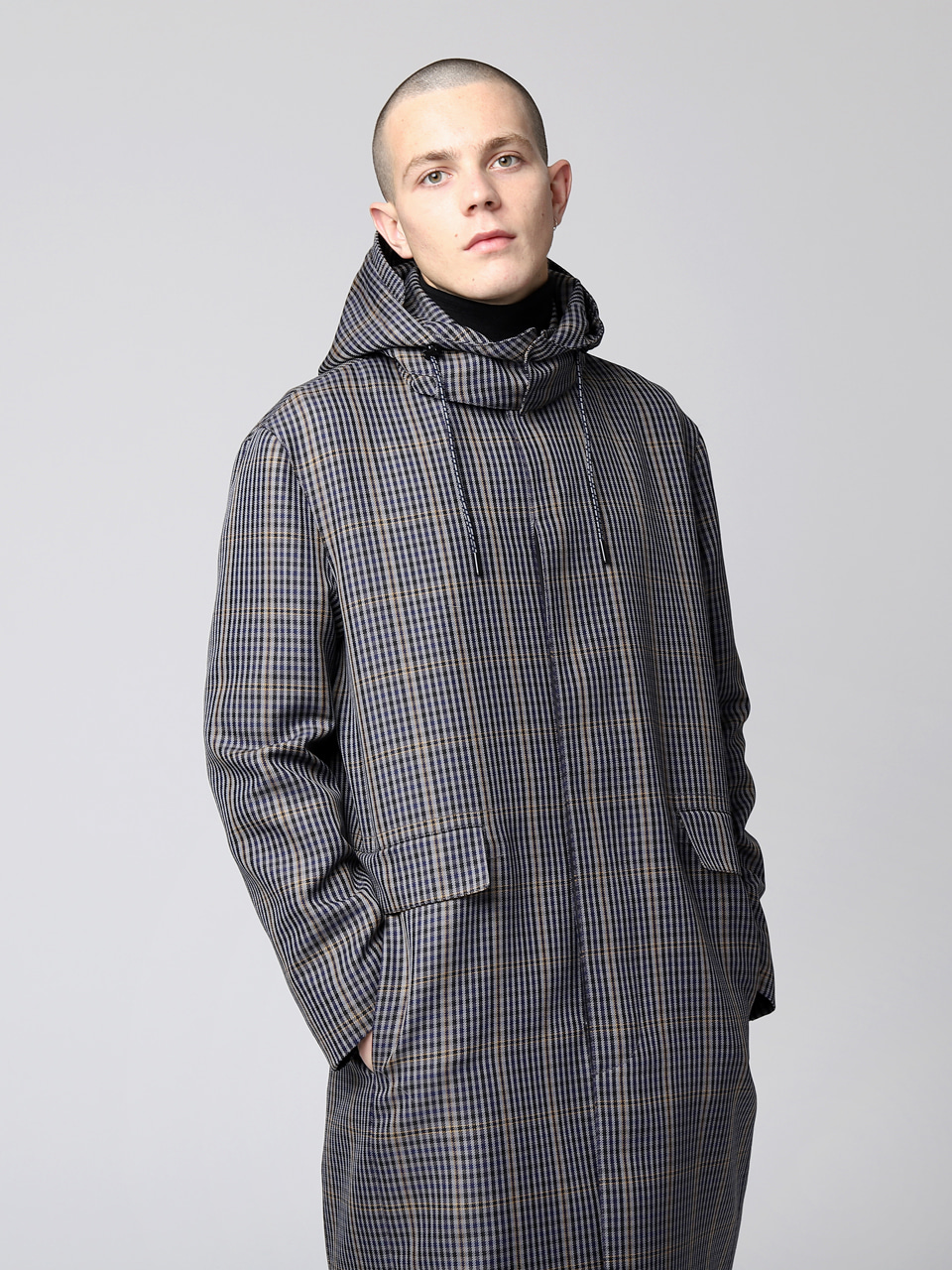 그레이휴Multi Check Trench Coat, Navy