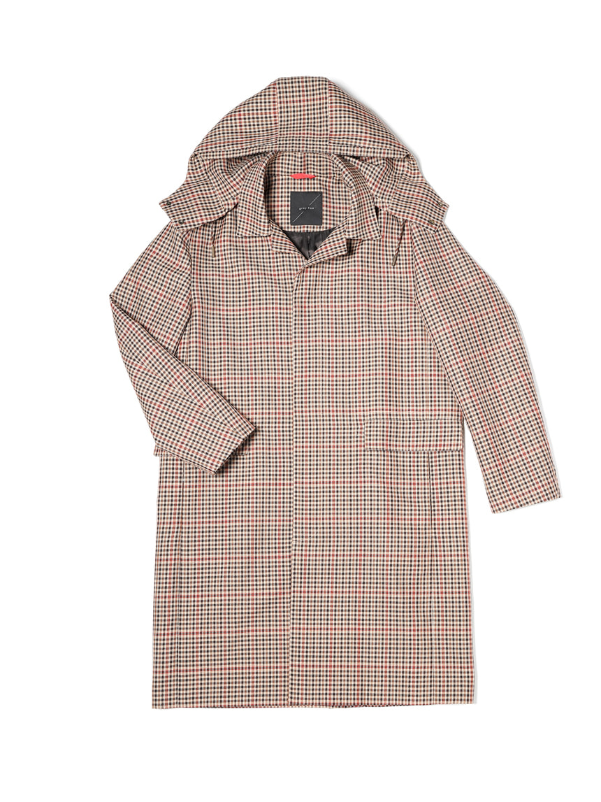 그레이휴Multi Check Trench Coat, Beige